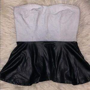Tube top with faux leather bottom